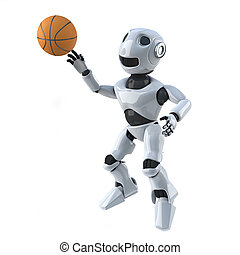 3d Robot plays basketball - 3d render of a robot jumping to...