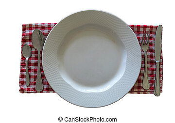 Plate with knife, spoon and fork