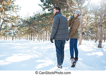 Couple walking in winter park - Happy young couple walking...