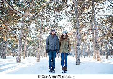 Beautiful happy couple standing in winter park - Full length...