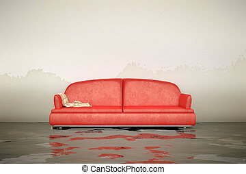 water damage sofa - A 3d rendering of an interior water...