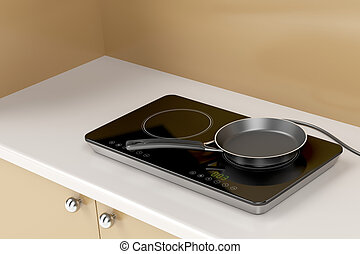 Double induction cooktop and frying pan - Double induction...