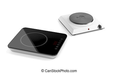 Hot plate and induction cooktop on white background