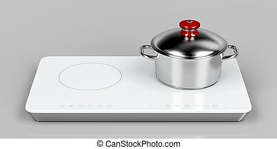 Preparing food on induction cooktop - White induction...