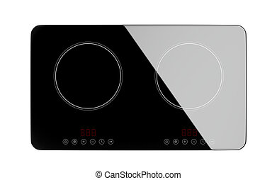 Top view of induction cooktop - Top view of double induction...