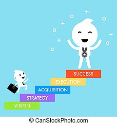 Business concept success strategy character design