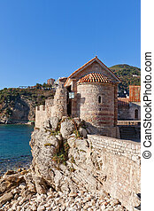 Church of St Sabbas the Sanctified (12 c.) in Budva,...