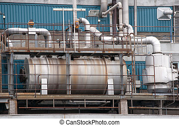 Heat exchanger - Detail of old rusty heat exchanger in a...