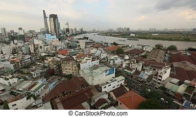 Top view of Ho Chi Minh City Saigon, Vietnam