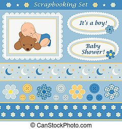 Scrapbooking set for baby boy Design elements for your...