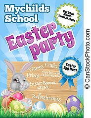 Cartoon Easter Bunny Invite - Cartoon Easter wooden sign...