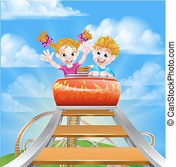 Roller Coaster Fair Theme Park - Cartoon boy and girl...
