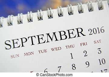 Close up calendar of September 2016