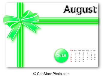 August 2016 - Calendar series with gift ribbon design