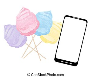 smart phone with cotton candy - a vector illustration in eps...