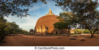 Panorama of Rankot Vihara Golden Pinnacle Dagoba in ancient...