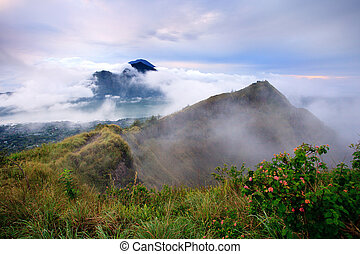 Agung volcano view from Batur - The Batur volcano crater in...