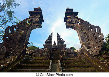 Besakih temple gate - Traditional hindu temple gate, Besakih...