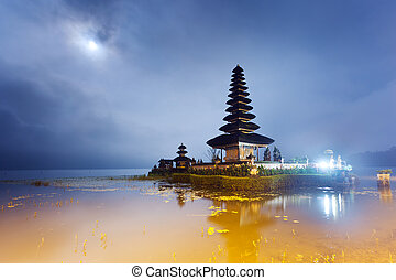 Ulun Danu temple with moon - Pura Ulun Danu temple at night...