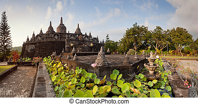 Banjar budhist temple Bali - Panoramic view on budhist...