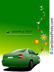 Business background with car image. Vector illustration