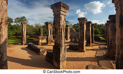 Panorama of ancient ruins of Royal palace in Polonnaruwa,...