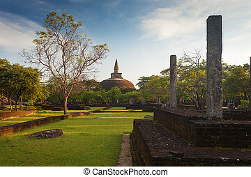 Panorama of ancient ruins in Polonnaruwa with Rankot Vihara...