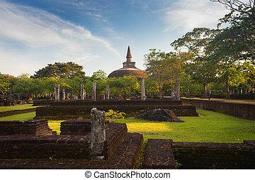 Panorama of ancient ruins in Polonnaruwa with Rankot Vihara...