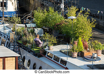 living barge on the Seine in Paris. France