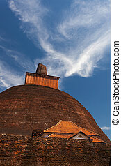 View of the Jetavan the oldest Dagoba in Anuradhapura, UNESCO, Sri Lanka, Asia