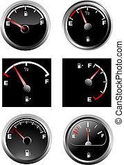 Set of six car dash boards petrol meter, fuel gauge. Vector illustration