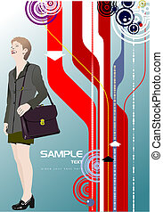 Cute shopping lady with bags Vector colored illustration