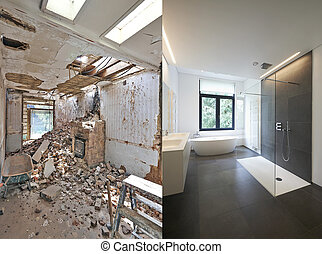 Renovation of a bathroom Before and after in horizontal...