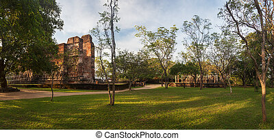 Panorama of ancient ruins in Polonnaruwa, Unesco, Srilanka,...
