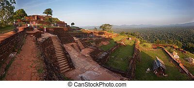 Panoramic view from the top of Sigiriya rock at sunset, Srilanka, Asia