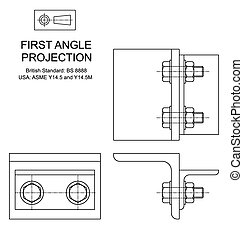 First Angle Orthographic Projection - Example of first angle...