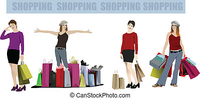 Cute shopping lady with bags. Vector colored illustration
