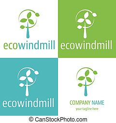Logo and icon for eco power windmill for renewable energy...