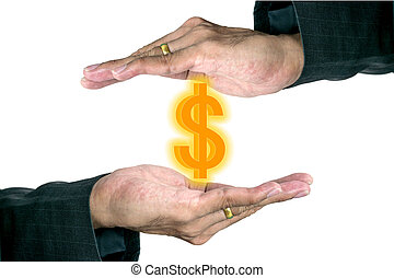 Hand of young businessman.