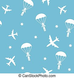 Cartoon Airplane seamless pattern, vector background with...