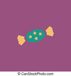 Candy flat icon - Candy with star Colorful vector icon...