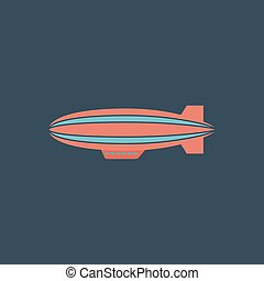 Airship flat icon - Airship Colorful vector icon Simple...