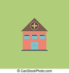Hospital flat icon - Hospital Colorful vector icon Simple...