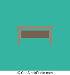 writing desk flat icon - Writing desk. Colorful vector icon....