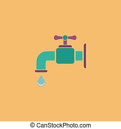 faucet flat icon - Faucet Colorful vector icon Simple retro...