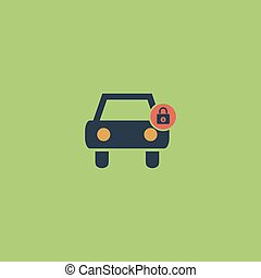 car lock icon - Car lock. Colorful vector icon. Simple retro...