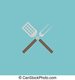 Barbecue utensils flat icon