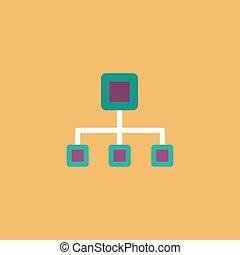Network block diagram. Colorful vector icon. Simple retro...