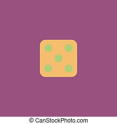 One dices - side with 5 Colorful vector icon Simple retro...