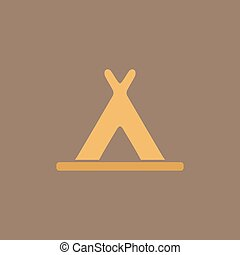 wigwam flat icon - Wigwam Colorful vector icon Simple retro...